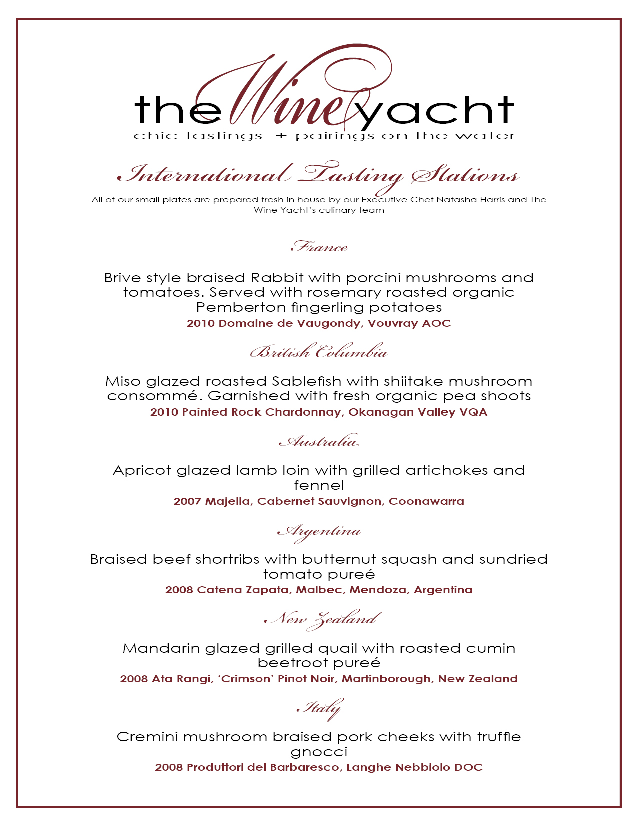 wine dinner menu template - the wine yacht thewineyacht